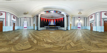 Full Spherical Seamless Panorama 360 Degrees Angle View In Old Abandoned Concert Hall. 360 Panorama In Equirectangular Equidistant Projection, VR AR Cont