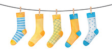 Various Colorful Socks On Clot...