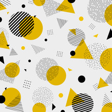 Abstract Colorful Geometric Yellow Black Colors Pattern Modern Decoration.