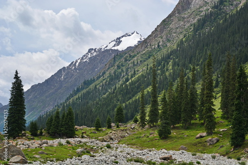 Fotografia  Alpine valley between mountains with rocks and snow on mountain peak