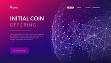 Blockchain Technology Futuristic Hud Banner With World Globe.