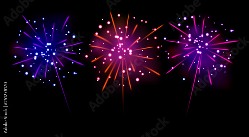 Set of realistic blue, pink-red, purple firecracker  Vector