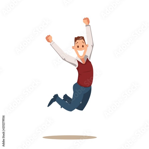 Happy Business Man Celebrating Victory by Jumping Canvas Print