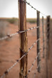canvas print picture - Rusty barb wire fence and old wood poles on Kalahari red sand farm