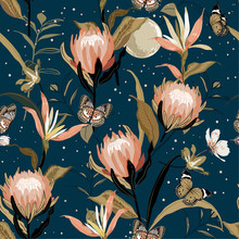 Blooming  Protea Flowers And Botanical Garden Night With Moon Shine And Stars ,butterflies Saemless Pattern Vector Design For Fashion ,fabric,wallpaper And All Prints