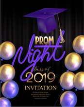 Prom Night Poster With Colorful Air Balloons And Graduation Cap. Vector Illustration