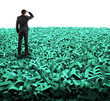 Leinwanddruck Bild Big data concept, huge amount of 3d green letters and numbers background with rear view of businessman gazing, isolated on white.