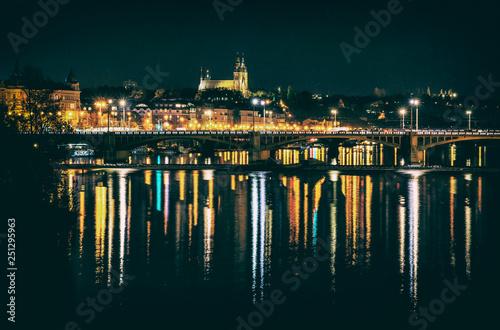 Fotografie, Obraz  Night scene in Prague with Vysehrad, analog filter