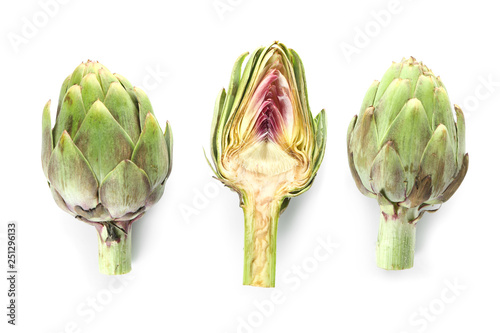 Raw artichokes on white background Canvas Print