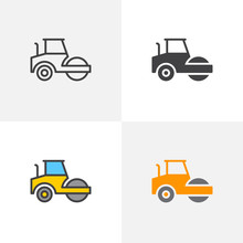 Road Roller Icon. Line, Glyph And Filled Outline Colorful Version, Steamroller Truck Construction Machinery Outline And Filled Vector Sign. Symbol, Logo Illustration. Different Style Icons Set