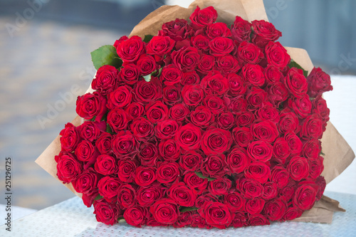 Photo  Large bouquet of 101 red rose.