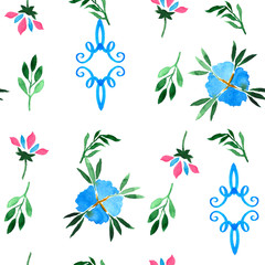 Watercolor seamless pattern. Decorative background. Vibrant hand painted elements.