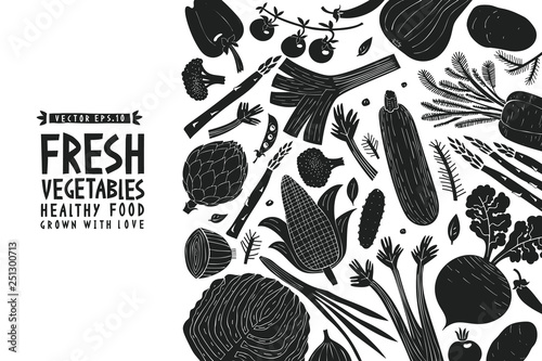Printed kitchen splashbacks Watercolor Nature Fun hand drawn vegetables design template. Black and white graphic. Vegetables background. Linocut style. Healthy food. Vector illustration