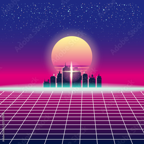 Synthwave Retro Futuristic Landscape With City, Sun, Stars And Styled Laser Grid Canvas Print