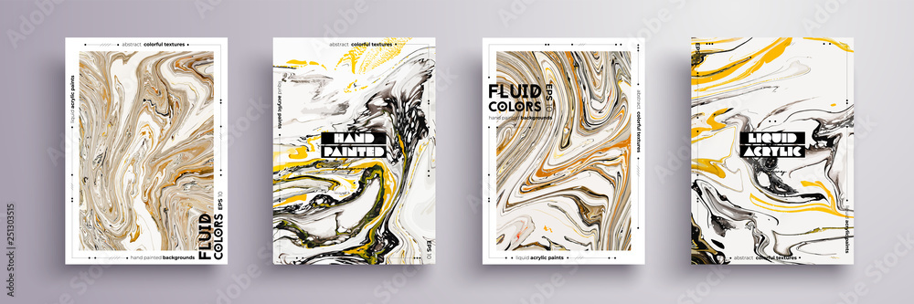 Fototapety, obrazy: Abstract painting, can be used as a trendy background for wallpaper, poster, invitation, cover and presentation. Fluid art. Liquid marble texture with mixed of acrylic yellow, brown, black paints