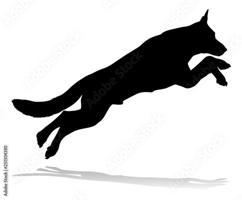 A detailed animal silhouette of a pet dog Canvas Print
