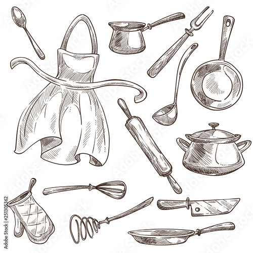 Photo Kitchenware and apron cooking tools saucepan and frypan