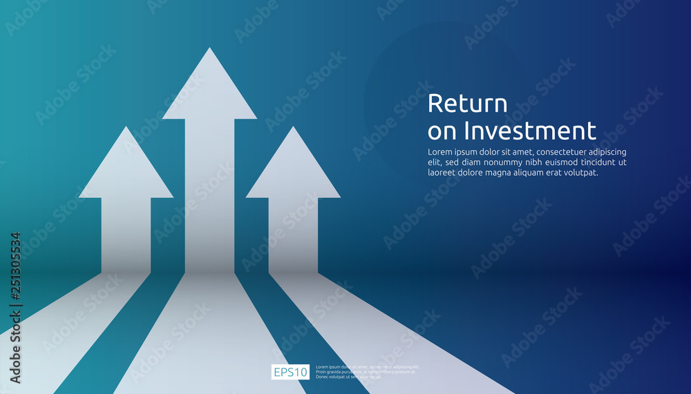 Fototapety, obrazy: business arrow target direction concept to success. Finance growth vision stretching rising up. banner flat style vector illustration. Return on investment ROI. chart increase profit.