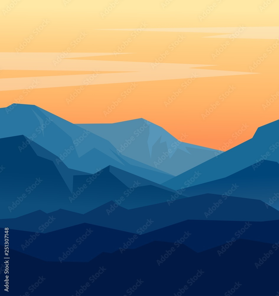 Fototapety, obrazy: Vector landscape with blue silhouettes of mountains and orange evening sky. Huge geometric mountain range silhouettes in twilight. Vector illustration.