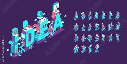 Photo  Vector isometric abstract font and alphabet, 3d letters for design concept