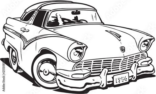 Fényképezés  1956 Ford Crown Victoria Vector Illustration