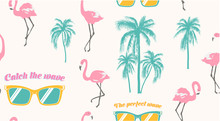Seamless Pattern With Sunglasses, Pink Flamingo And Palm Trees. T-shirt Print Summer Design For Youth, Teenagers.