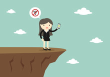 Business Concept, Business Woman Trying To Use Smartphone But No Signal. Vector Illustration.