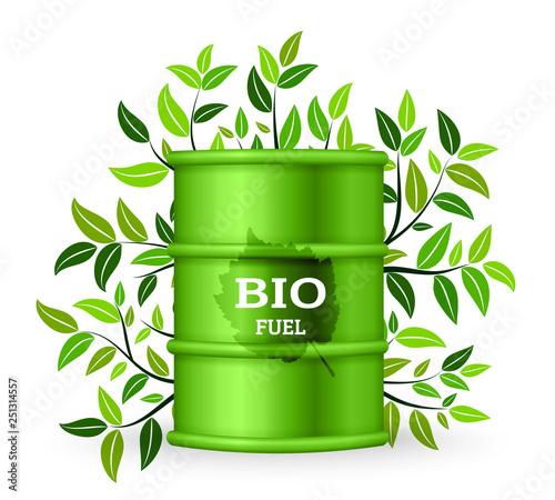 Metal barrel with bio fuel and green tree. Vector illustration Canvas Print