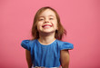 canvas print picture - Female portrait of charming child of three years with a beautiful smile.
