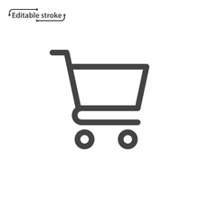 Shopping Cart Line Icon. Edita...