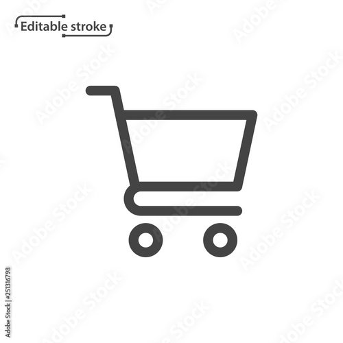 Obraz na płótnie Shopping cart line icon. Editable stroke.