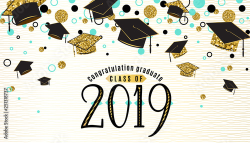 Fotografia, Obraz  Graduation background class of 2019 with graduate cap, black and gold color, glitter dots on a white golden line striped backdrop