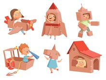 Cardboard Kids Playing. Childrens Games With Paper Containers Making Airplane Car And Ship Vector Characters In Cartoon Style. Illustration Of Cardboard Box Costume, Robot Helmet And House