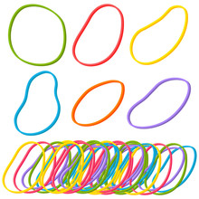 Elastic Band Rubber Vector Set Isolated On A White Background.
