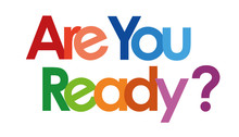 Are You Ready Text In White Background