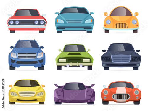 Spoed Foto op Canvas Cartoon cars Cars front view. Taxi truck bus van vehicles transport cartoon collection. Illustration of car and taxi front, auto transportation