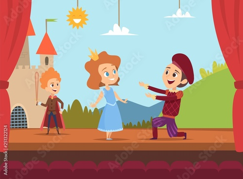 Obraz Kids at school stage. Children actors making big performance at scene dramatic scenery vector illustration. Children characters in drama, boy and girl on stage - fototapety do salonu