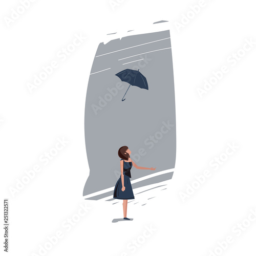 Photo  Girl lost umbrella from windy- vector illustration