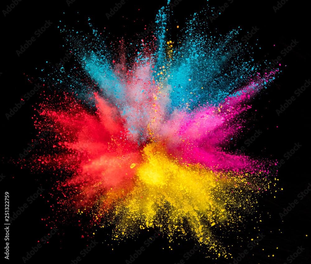 Fototapety, obrazy: Colored powder explosion on black background. Freeze motion.