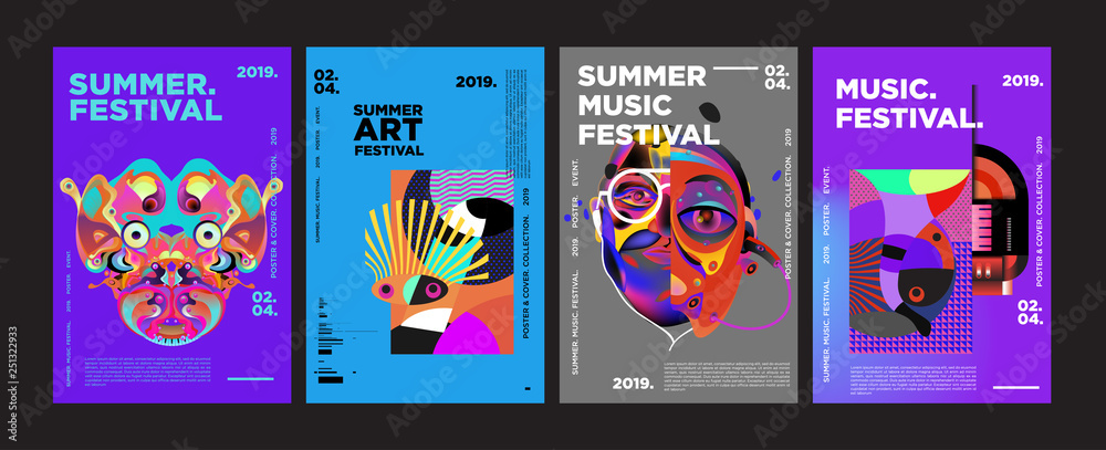 Fototapeta Summer Colorful Art and Music Festival Poster and Cover Template for Event, Magazine, and Web Banner.