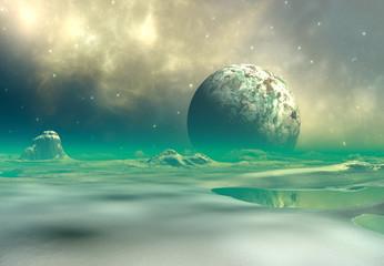 3D świadczonych Fantasy obcy krajobraz - ilustracja 3D