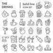 Drinks line icon set, beverage symbols collection, vector sketches, logo illustrations, liquid signs linear pictograms package isolated on white background, eps 10.
