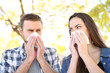 canvas print picture - Ill couple suffering contagious flu outdoors