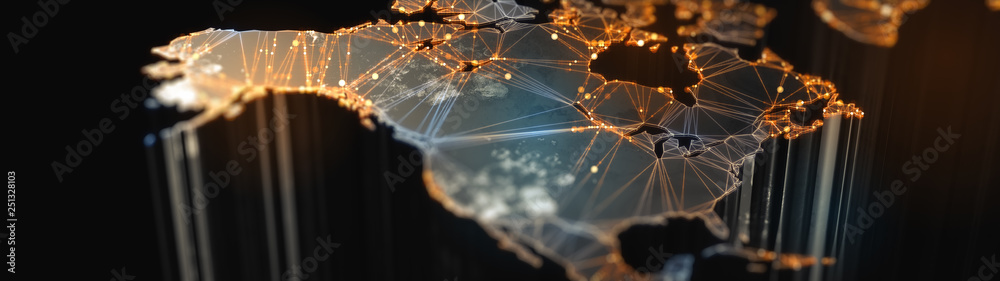 Fototapety, obrazy: Digital mainlands from space. Cities and countries connected by plexus light lines. Virtual continents. Creative technology, ultra wide background. Concept of transfering information. 3d rendering