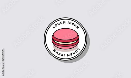 Fotobehang Macarons Macaron Vector Illustration Badge Sticker Design