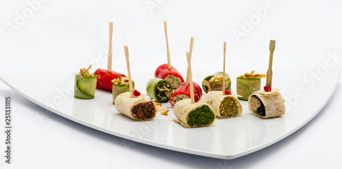 Assortment of holiday vegetable appetizers on white plate Canvas Print