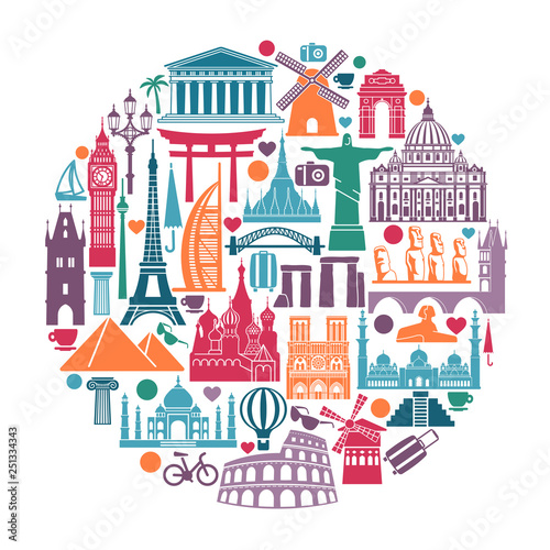 Foto  Circle of symbols Icons world tourist attractions and architectural landmarks