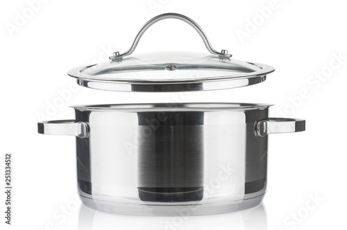 Foto Steel saucepan and lid closeup isolated on white background