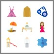 9 adult icon. Vector illustration adult set. dress and girl icons for adult works