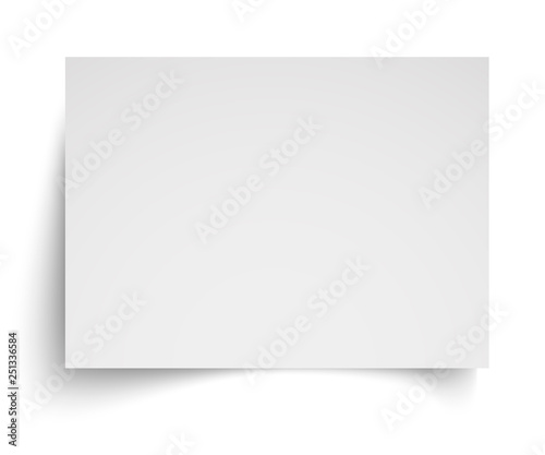 Realistic blank white A4 sheet template with soft shadows on white background. Vector Illustration EPS10 Wall mural